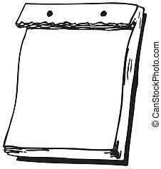 parede, em branco, -, penduradas, calendário, página