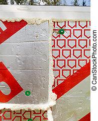 parede, energia, aquecimento, isolação, marcando, salvar