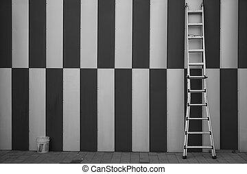 parede, escada, fixo