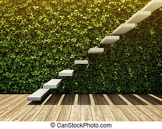 parede, escadaria, sala, vertical, jardim