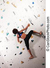 parede, escalando, mulher