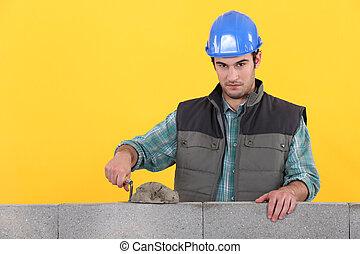 parede, espalhar, trowel, cimento, homem