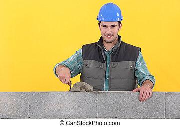parede, espalhar, trowel, cimento, pedreiro