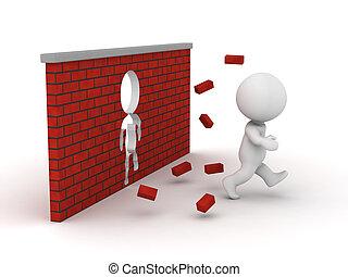 parede, executando, através, tijolo, 3d, homem