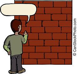 parede, falando, tijolo