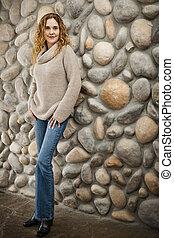 parede, frente, pedra, mulher