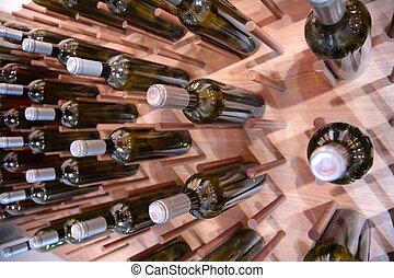 parede, garrafas, vinho