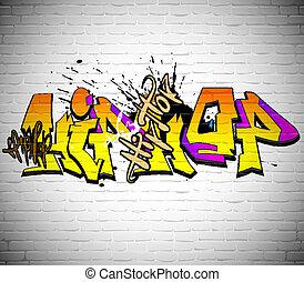 parede, graffiti urbano, fundo, arte
