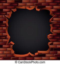 parede, hole., tijolo, quebrando