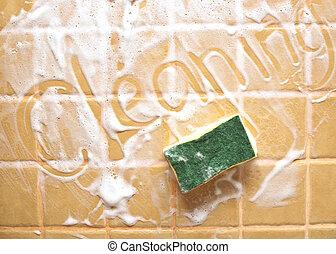 """parede, inscrição, sabonetes, \""""cleaning\"""""""