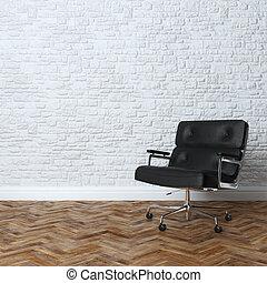 parede, interior, tijolo branco
