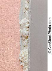 parede, isolação, detalhe