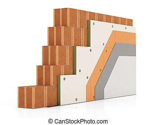 parede, isolação, térmico, tijolo, detalhe