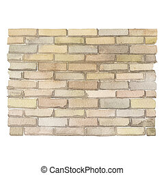 parede, isolado, aquarela, fundo, tijolo, branca