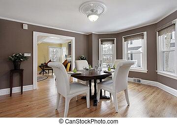 parede, jantando quarto, janelas