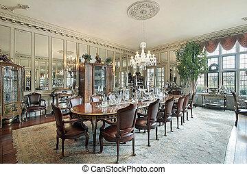 parede, jantar, formal, sala, espelhos