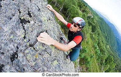 parede, jovem, experiência., verde, escalando, vale, homem