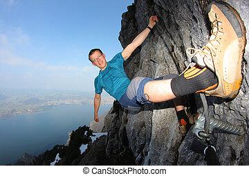 parede, jovem, lago, acima, escalando, íngreme, homem
