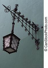 parede, lâmpada, rua