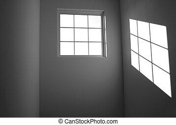 parede, lançar, janela, pretas, branca, sombra