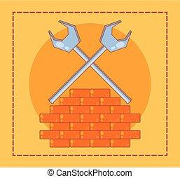 parede, lar repara, ícones