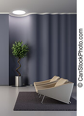 parede, lounge, ondulado, desenho, sala