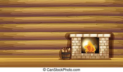 parede madeira, lareira