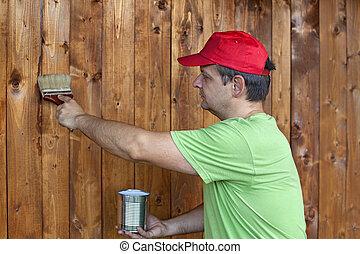 parede madeira, quadro, homem