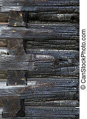 parede, madeira, queimado, textura