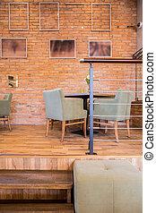 parede, madeira, tijolo, parquet