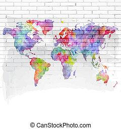 parede, mapa, tijolo, aquarela, mundo