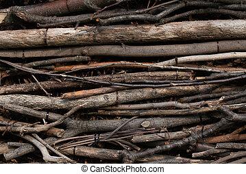 parede, marrom, organizado, varas, longo