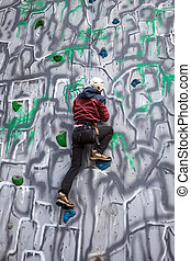 parede, menino, escalador