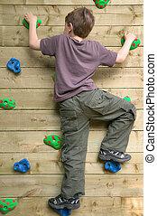 parede, menino, escalando