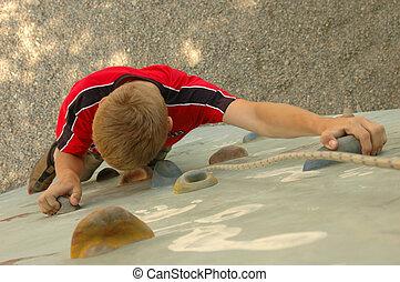 parede, menino, escalando, práticas, rocha
