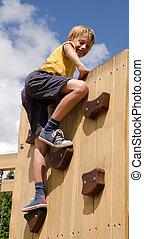 parede, menino, pátio recreio, escalando