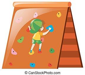 parede, menino, pequeno, escalando