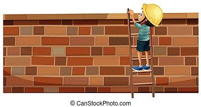 parede, menino, tijolo, cima, escalando