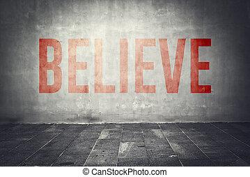 parede, mensagem, acreditar