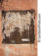 parede, metal, antigas, prato