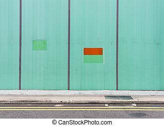 parede, metal verde