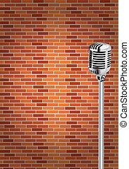 parede, microfone, fundo