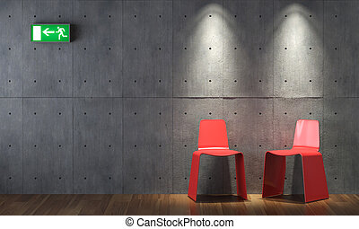 parede, modernos, concreto, desenho, cahirs, interior, vermelho