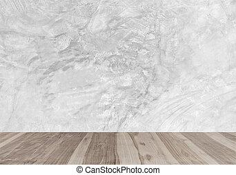 parede, modernos, concreto, madeira, chãos, branca
