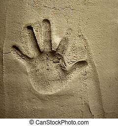 parede, morteiro, impressão, cimento, mão