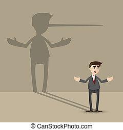 parede, nariz longo, homem negócios, sombra, caricatura