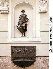 parede, nicho, riga, estátua