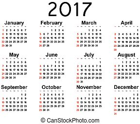 parede, novo, grande, 2017, calendário