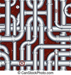 parede, oleoduto, tijolo, steamshop, porão