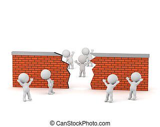 parede, olhar, quebrada, caráteres, tijolo, 3d